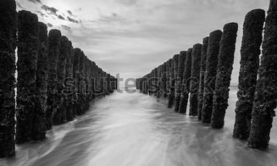 Fototapeta falochrony na Morzu Bałtyckim w czarno-białej kolorystyce