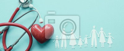 Fototapeta Family paper cut out with red heart and stethoscope, heart health,  family health insurance concept, World heart day, world health day, blood organ donation