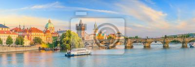 Fototapeta Famous iconic image of Charles bridge and Praguecity skyline