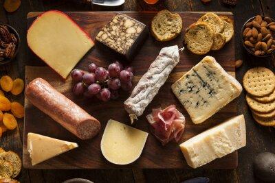 Fototapeta Fancy Mięso i Cheeseboard z owocami