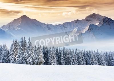 Fototapeta Fantastyczny wieczór zimowy krajobraz. Dramatyczne niebo zachmurzone. Twórczy kolażu. Piękno świata.