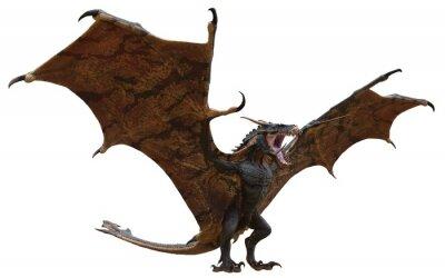 Fototapeta Fantasy dragon isolated on white 3d illustration
