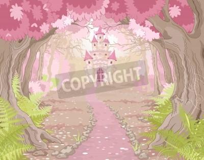 Fototapeta Fantasy landscape with magic fairy tale princess castle