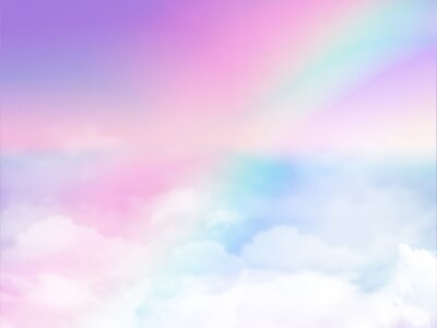 Fototapeta fantasy magical landscape rainbow on sky abstract big volume texture fluffy clouds shine close up view straight