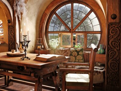 Fototapeta Fantasy tiny storybook style home interior cottage with rustic accents and a large round cozy window. 3d rendering