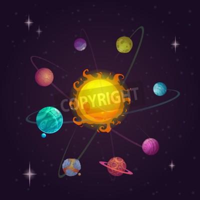 Fototapeta Fantasy układ słoneczny, obce planety i gwiazdy, ilustracji wektorowych przestrzeń