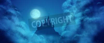 Fototapeta Fantasy wektor sylwetka zamku na wzgórzu przeciwko niebo z księżyca miękkie chmury tekstury. Fantasy nocny widok panoramiczny