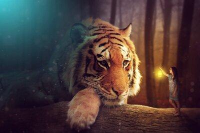 Fototapeta Fantasy world - kobieta i gigantyczny tygrys