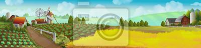 Fototapeta Farm, panorama krajobraz, tło wektor