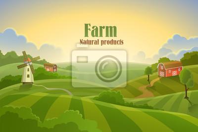 Fototapeta Farm płaski krajobraz