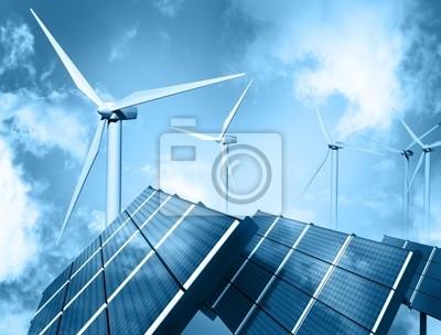Farma wiatrowa i panel słoneczny