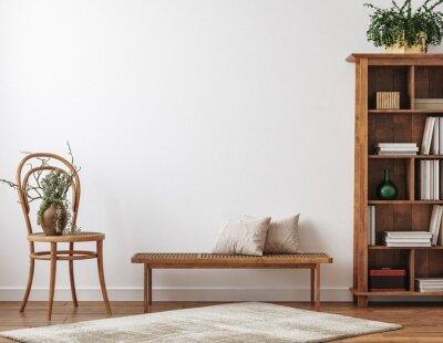 Fototapeta Farmhouse living room interior with wooden furniture, wall mockup, 3d render
