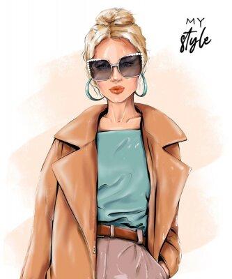 Fototapeta Fashion blond hair woman. Beautiful girl in sunglasses. Stylish girl in coat. Fashion illustration.
