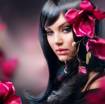 Fototapeta Fashion Brunette Girl with Magnolia Flower