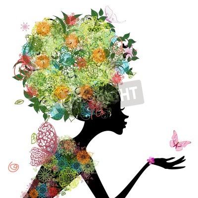 Fototapeta Fashion girl with hair arabesque
