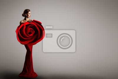 Fototapeta Fashion Model Rose Flower Dress, Elegant Woman Red Art Gown, Beauty Portrait