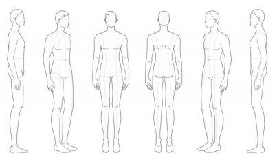 Fototapeta Fashion template of standing men.