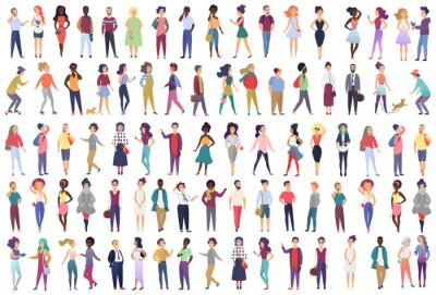Fototapeta Fashionable group of male and female cartoon characters dressed in trendy clothing in different poses. Crowd of tiny people wearing stylish clothes flat gradient color vector illustration