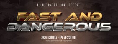 Fototapeta Fast and dangerous text, 3d gold and silver metallic style editable font effect