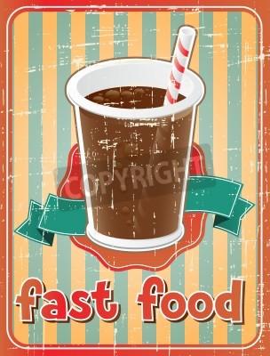 Fototapeta Fast Food tło z drinkiem w stylu retro