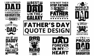 Fototapeta Father's Day Quotes Typography Design. Awesome Dad day text vector design for t-shirt, banner, poster, mug, etc
