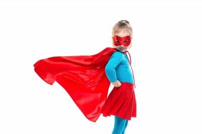 Fototapeta Female child in superhero costume.