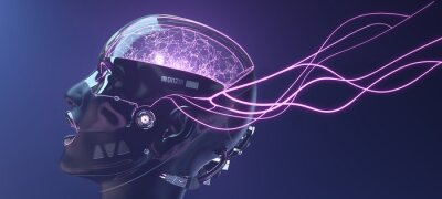 Fototapeta Female cyborg face with pink neon lines, futuristic robotic art, 3d render