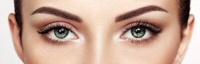 Fototapeta Female Eye with Extreme Long False Eyelashes. Eyelash Extensions. Makeup, Cosmetics, Beauty. Close up, Macro