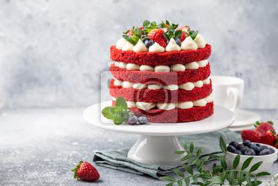 Fototapeta festive  Red Velvet cake on white cake stand