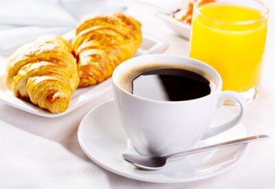 Fototapeta Filiżanka kawy i rogalików