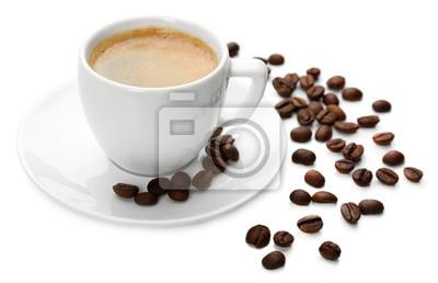 Filiżanka kawy na białym