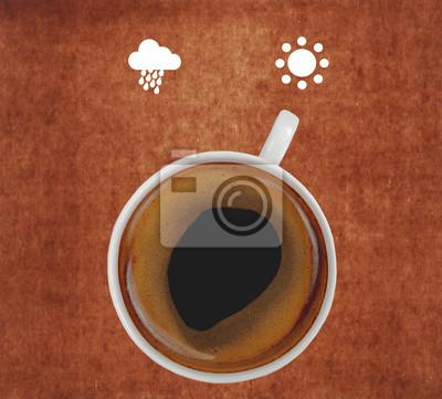 filiżanka kawy pokazano ikony słońce