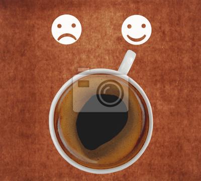 filiżanka kawy pokazywanie uśmiechnięta twarz