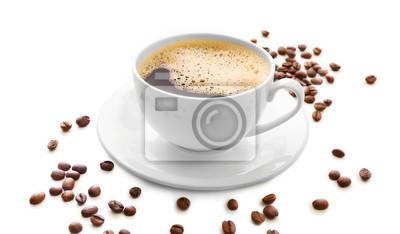 Filiżanka kawy wyizolowanych na białym tle
