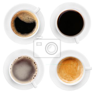 Filiżanki kawy na białym