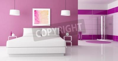 Fioletowy Sypialnia Z Podwójnym łóżkiem I Białego Natrysk Renderowania Obraz Fototapety Redro