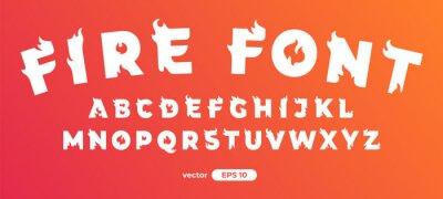 Fototapeta Fire alphabet. Burning letters. Flat style vector illustration. Font set isolated on a white background. Cartoon simple modern design.