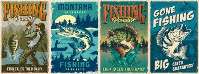 Fototapeta Fishing vintage colorful posters set