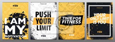Fototapeta Fitness Gym Motivation Quote. Grunge Poster Concept.