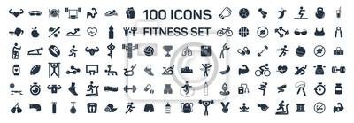 Fototapeta fitness i sport 100 izolowanych ikon ustawionych na białym tle