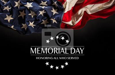 Fototapeta Flaga amerykańska z tekstem Memorial day.