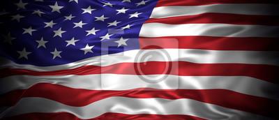 Fototapeta Flaga stanowa Stanów Zjednoczonych Ameryki 3D panoramiczny ilustracji