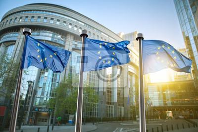 Fototapeta Flaga Unii Europejskiej w Brukseli przed parlamentem