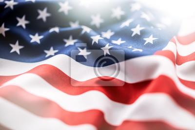 Fototapeta Flaga USA. Flaga Ameryki. Amerykańska flaga dmuchanie wiatru. Close-up. Studio strzałów.
