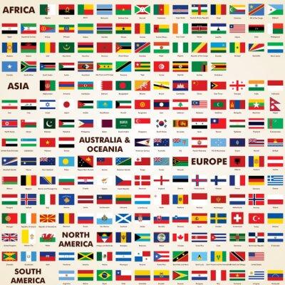 Fototapeta Flagi świata, spakować flagi świata