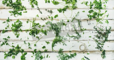 Fototapeta Flat-lay różnych świeżych zielonych ziół. Pietruszka, mięta, koperek, kolendra, rozmaryn, tymianek nad rustykalnym białym tle drewnianych, widok z góry, szeroki skład. Zdrowe wegańskie gotowanie konce