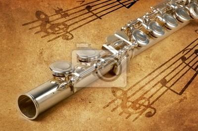 Fototapeta Flet srebrny w starożytnej tło muzyczne