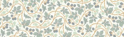 Fototapeta Floral botanical blackberry vines seamless repeating wallpaper pattern- exquisite elegance gold and blue-gray version
