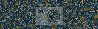 Fototapeta Floral botanical blackberry vines seamless repeating wallpaper pattern- rich gold and royal blue version