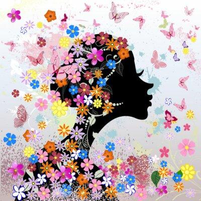 Fototapeta Floral fryzurę, dziewczyna i motyl